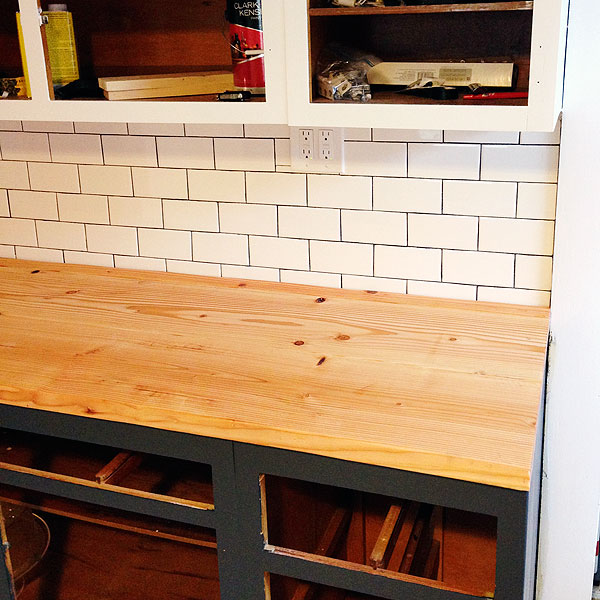 DIY Wood Plank Countertops